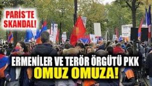 PARİS'TE PKK'NIN KATILIMIYLA ERMENİSTAN'A DESTEK GÖSTERİSİ