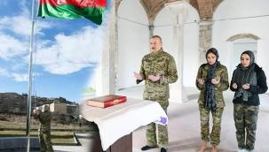 Cumhurbaşkanı Aliyev, Ermeni işgalinden kurtarılan Şuşa'da: Üzeyir Hacıbeyli'nin büstünü açtı