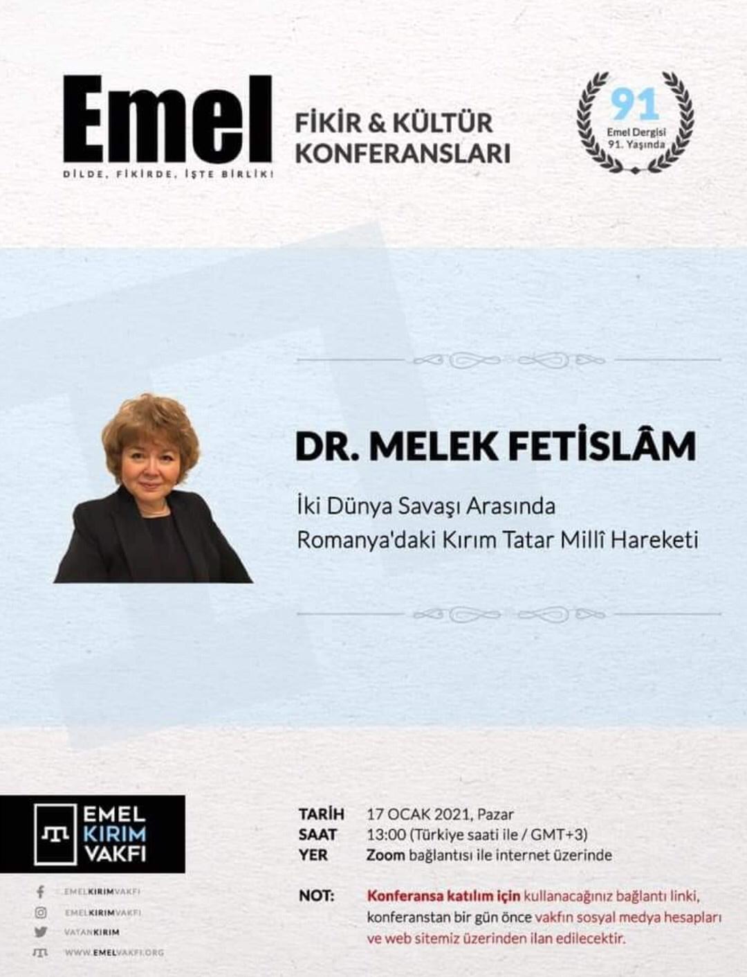 EMEL FİKİR-KÜLTÜR Konferanslarında Bu Hafta