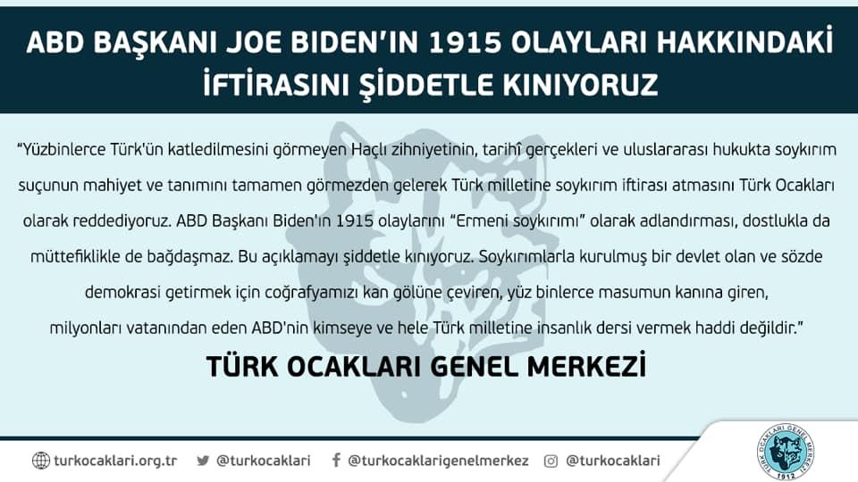 ABD Başkanı Joe Biden'in 1915 olayları hakkındaki konuşmasına dair Türk Ocaklarından Basın Açıklaması yapıldı.