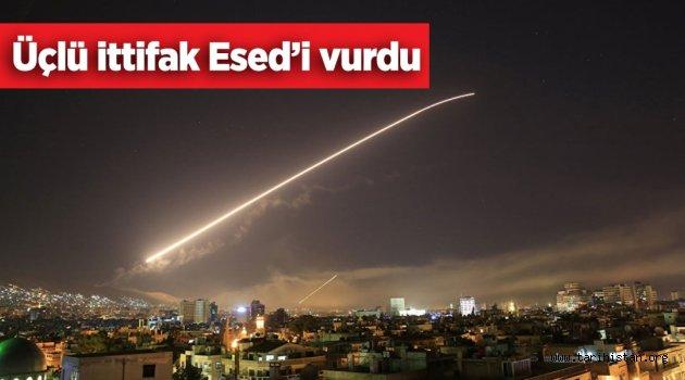 ABD, İngiltere ve Fransa Esed'i vurdu