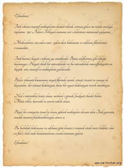 Tarihte 190 Askeri Tıbbiyelinin Mektubu