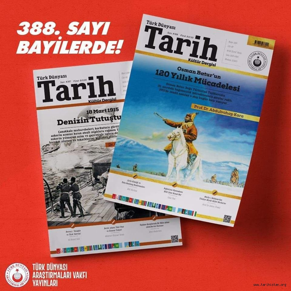 Türk Dünyası Tarih Kültür Dergisi 388. sayısı çıktı