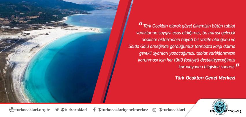 """Türk Ocakları """"Salda Gölü"""" Hakkında Basın Açıklaması yaptı."""